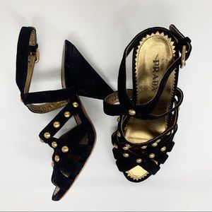 GORGEOUS PRADA 38.5 suede sandals with cone heel B